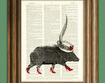 High Heel JAVELINA with a SUNDAY HAT print over an upcycled vintage dictionary page book art