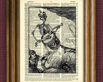 Skeleton Drummer Boy print over an upcycled vintage dictionary page book art
