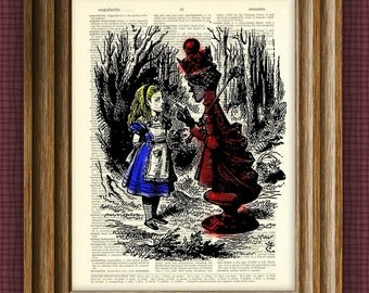 Alice in Wonderland Red Queen illustration beautifully upcycled dictionary page book art print
