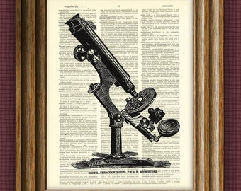MICROSCOPE art print illustration beautifully upcycled dictionary page book art print