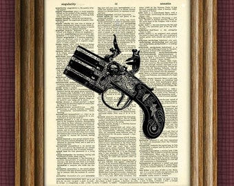 FLINTLOCK PISTOL print over an upcycled vintage dictionary page book art