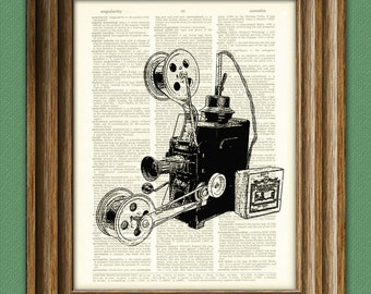 Antique Movie Film Projector print over an upcycled vintage dictionary page book art