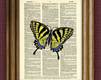SWALLOWTAIL BUTTERFLY illustration beautifully upcycled dictionary page book art print