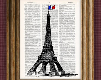 Cool Eiffel Tower France illustration beautifully upcycled dictionary page book art print 8.5 x 11