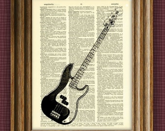 Fender Precision Electric Bass Guitar illustration beautifully upcycled dictionary page book art print