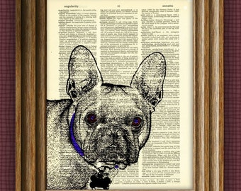 FRENCH BULLDOG Art Frenchie dog beautifully upcycled vintage dictionary page book art print
