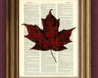RED MAPLE LEAF beautifully upcycled vintage dictionary page book art print