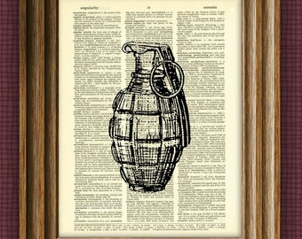 HAND GRENADE illustration beautifully upcycled dictionary page book art print