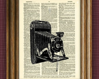 Antique BELLOWS CAMERA print over an upcycled vintage dictionary page book art 2