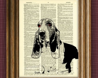 BASSET HOUND dog beautifully upcycled vintage dictionary page book art print