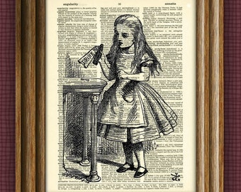 DRINK ME Alice in Wonderland beautifully upcycled vintage dictionary page book art print