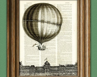 Hot Air Balloon Print illustration beautifully upcycled dictionary page book art print 2