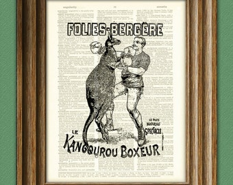 Boxing Kangaroo Folies-Bergere print over an upcycled vintage dictionary page book art