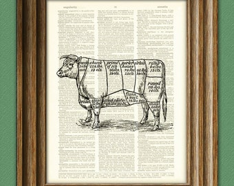 Cow CUTS OF BEEF diagram beautifully upcycled vintage dictionary page book art print