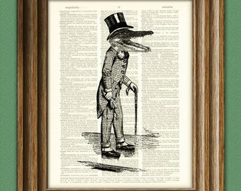 See You Later Alligator with a suit and top hat altered art dictionary page illustration book print