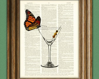 SOCIAL BUTTERFLY martini with olives illustration on a dictionary page altered art book print Buy 3 get 1 Free