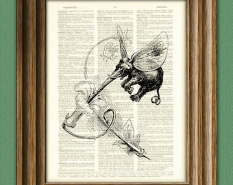 Fairy Elephant with a Lily altered art dictionary page illustration book print