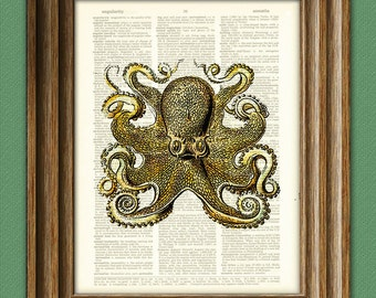 Octopus Vintage Art Giant Yellow Octopus altered art dictionary page illustration book print