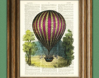A Royal Hot Air Balloon voyage illustration dictionary page book altered art print