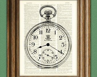 Antique Pocket Watch illustration beautifully upcycled dictionary page book art print 2