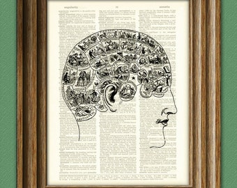 Phrenology head and brain diagram illustration beautifully upcycled dictionary page book art print