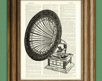 Antique GRAMOPHONE old record player print over an upcycled vintage dictionary page book art - Buy 3 get 1 Free