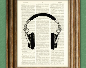 Cool DJ Spinning HEADPHONES print over an upcycled vintage dictionary page book art