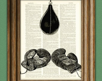 BOXING GLOVES and speed BAG print over an upcycled vintage dictionary page book art