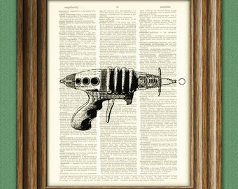Geeky Space Retro RAY GUN beautifully upcycled vintage dictionary page book art print