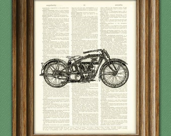 Vintage Excelsior Motorcycle Motor Bike beautifully upcycled vintage dictionary page book art print