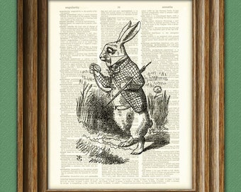 I AM LATE White Rabbit Alice in Wonderland beautifully upcycled vintage dictionary page book art print