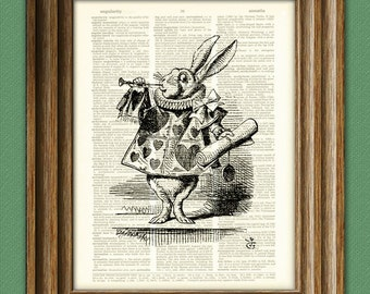 HERALD WHITE RABBIT Alice in Wonderland beautifully upcycled vintage dictionary page book art print