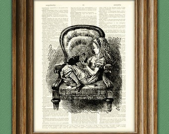 Alice in Wonderland sitting with the black kitten beautifully upcycled vintage dictionary page book art print