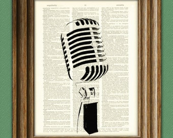 Old-Timey RADIO MICROPHONE altered art dictionary page illustration book print