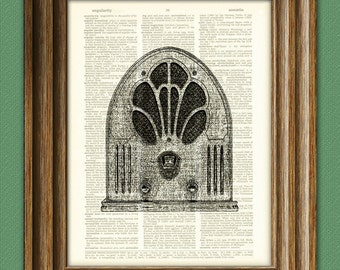 Old School TUBE RADIO altered art dictionary page illustration book print Buy 3 get 1 Free