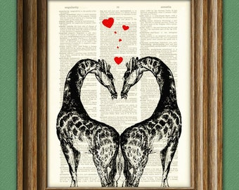 Romantic GIRAFFE LOVERS with hearts altered art dictionary page illustration book print