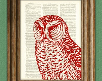 Red HAWK OWL print over an upcycled vintage dictionary page book art