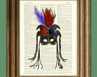 Cool red and blue MARDI GRAS MASK with feathers print over an upcycled vintage dictionary page book art