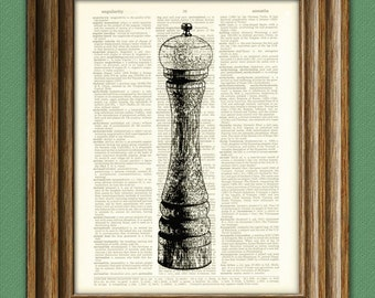 Peppermill Pepper Grinder Mill print over an upcycled vintage dictionary page book art