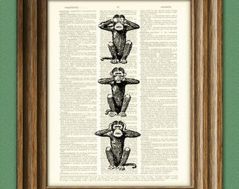 Monkey See No, Speak No, Hear No Evil illustration beautifully upcycled dictionary page book art print
