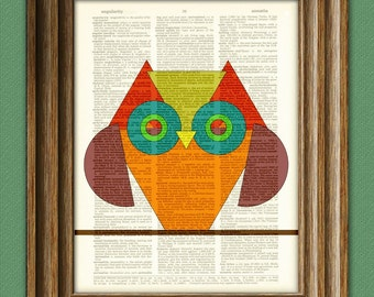 Geometric Shapes TRIANGLE OWL print over an upcycled vintage dictionary page book art