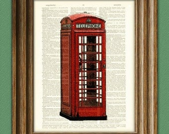 British RED TELEPHONE BOX art Booth beautifully upcycled vintage dictionary page book art print