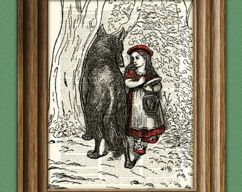 Little Red Riding Hood and the Big Bad Wolf beautifully upcycled dictionary page book art print