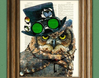 Steampunk Owl Inspektor VonTalon with top hat and goggles and skeleton key illustration beautifully upcycled dictionary page book art print