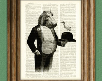 Hippo Gentleman in a Tuxedo with Bowler Hat and Cattle Egret Bird Friend illustration beautifully upcycled dictionary page book art print