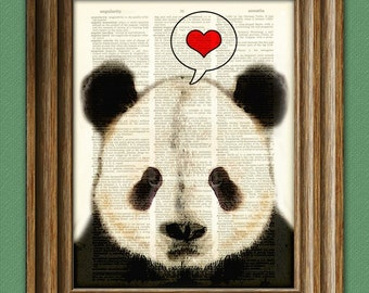I LOVE YOU PANDA Bear beautifully upcycled vintage dictionary page book art print