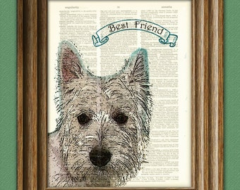 West Highland White Terrier Westie dog beautifully upcycled vintage dictionary page book art print PERSONALIZED