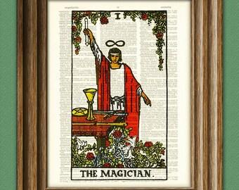 The Magician Major Arcana Tarot Card deck print over an upcycled vintage dictionary page book art