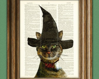 Cat Art Witch Goddess May Kitty Cat illustration beautifully upcycled dictionary page book art print