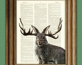 JACKALOPE Mythological Jack Rabbit Hare with Antlers illustration beautifully upcycled dictionary page book art print Buy 3 get 1 Free